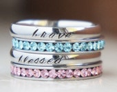 Birthstone stacking rings Personalized Name Silver Stamped Engraved Mom Ring