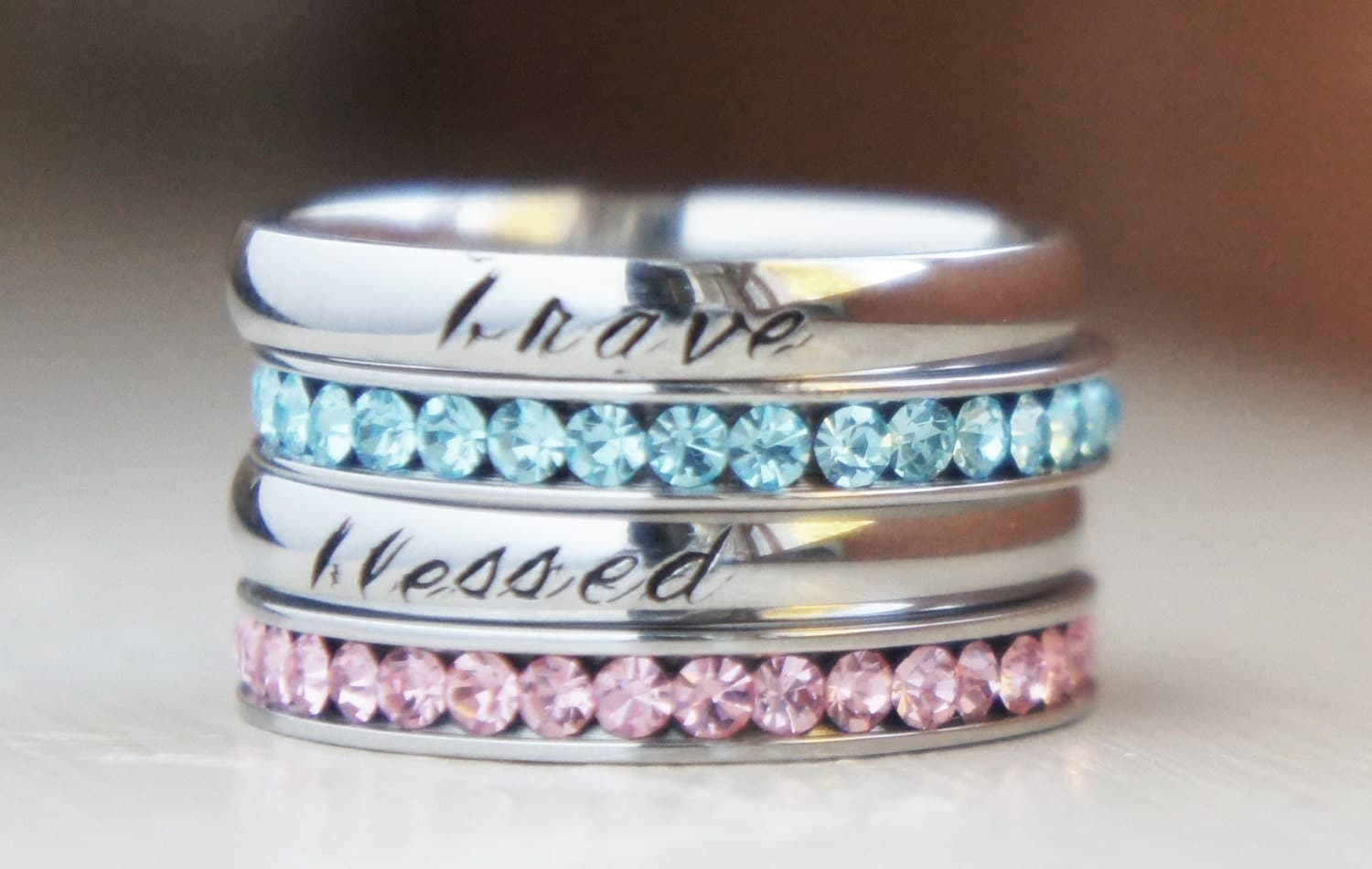 birthstone stacking rings personalized name by. Black Bedroom Furniture Sets. Home Design Ideas