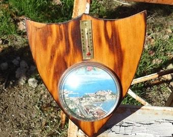 Wooden Shield Monaco Thermometer Souvenir