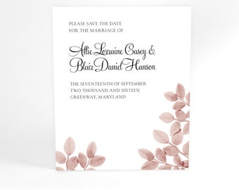 Bilberry Leaves Save The Date Cards, year round Wedding Announcements, Tree Branches with Simple Timeless Leaves, Rustic Bucolic Charm