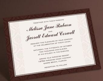 Filigree Formal Wedding Invitations, Filigree Frame Offers Elegance and Polished Sophistication for a Formal Event. You Choose Custom Color
