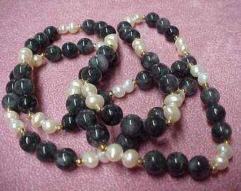 "Vintage Black Jade Beads 9mm, Pearls 7mm, 14K Y/G Beads 3mm, 30"" Continuous"