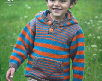 K3771 Childrens Long Sleeve Striped Hooded Jumper with Front Pocket (Hoodie) Knitting Pattern DK (Light Worsted) King Cole