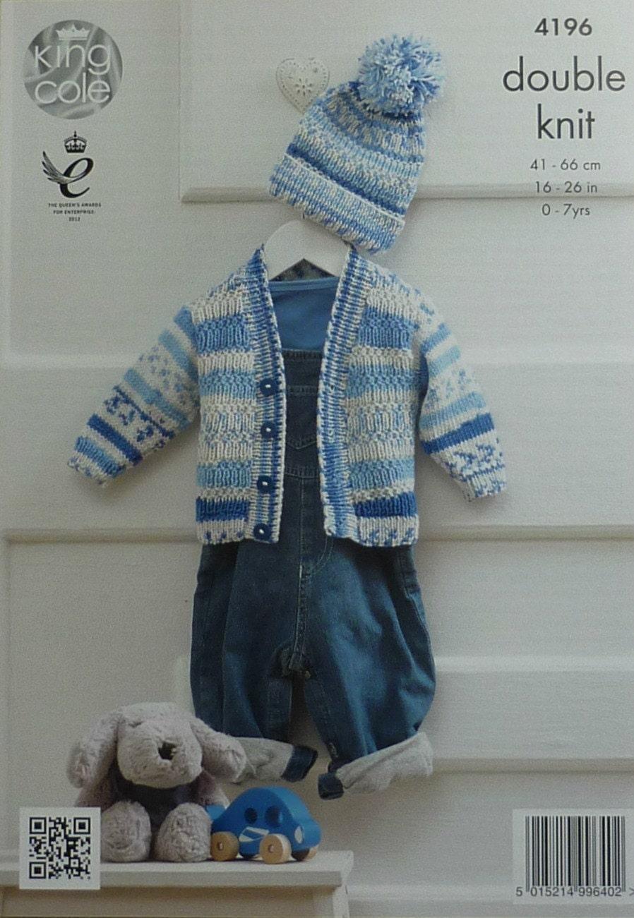 Baby Knitting Pattern K4196 Babys Long Sleeve V-Neck Cardigan and Bobble...
