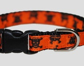 "Skull and Crossbones Black and Orange 3/8"" Adjustable Cat Collar"