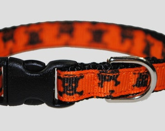 "Skull and Crossbones Black and Orange 3/8"" Adjustable Cat Collar"