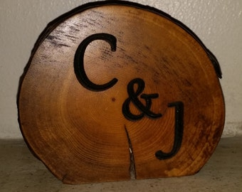 Rustic Log Centerpiece carved with lettering of your choice