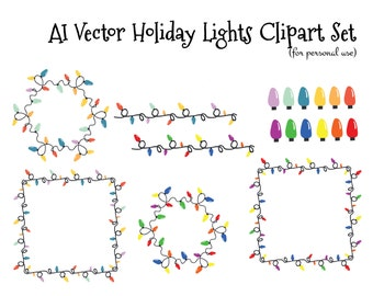 Christmas Holiday Lights Lightbulbs Clipart - Adobe Illustrator AI vector file- Personal use only