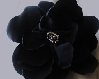 REDUCED-Black SatinHair  Flower (with  gator clip, or pin back}