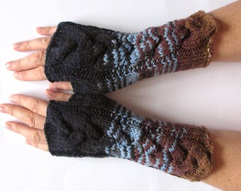 Fingerless Gloves Mittens wrist warmers Blue Azure Brown Beige