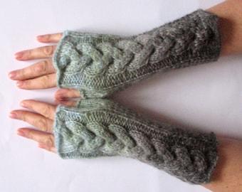 Fingerless Gloves Gray Asphalt Dark Grey Mint Green wrist warmers