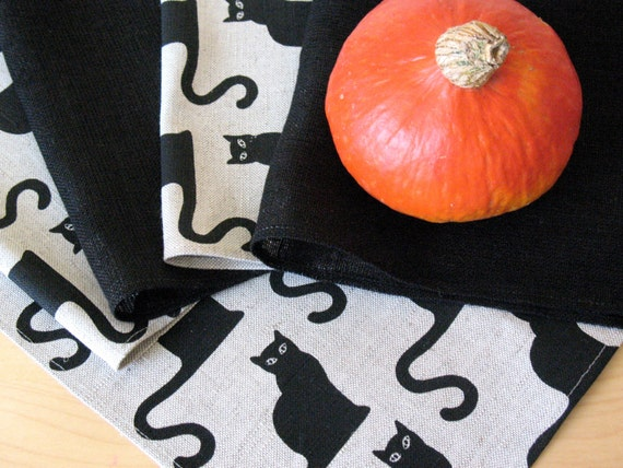 "Linen Napkin Halloween Cat Black set of 8 - Flax - 18""x18"" size"