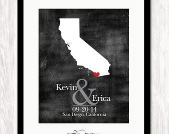Personalized Wedding Gift, State Map Print, Bride & Groom Names and Wedding Date, Bridal Shower Gift, Any State Available, Choice of Colors