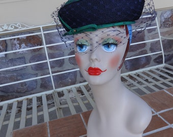 Vintage womens hat retro 1950's green blue veil early millinery accessories toque