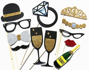 Wedding Party Photo Booth Props - 12 Piece Wedding Favor Set - Bridal Shower Photobooth Birthday Photo Props