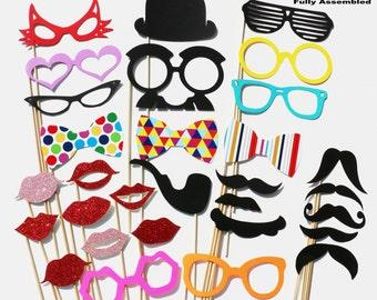 Wedding Photobooth Props Set - Photo Props 30 GLITTER Piece set - Photo Booth Party Props