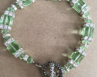 Longer Length Light Green Swarovski Crystal and Squaredelle Bracelet