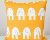Yellow Pillow Covers. Decorative Elephant Print Throw Pillow Covers Corn Yellow and White,  Baby Nursery