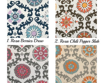 Curtain Panels 24W or 50W x 63, 84, 90, 96 or 108L in Premier Prints Rosa Collection Berries Chili Pepper Flamingo  Mandarin Dossett