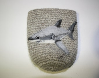 Shark great white can cozy Needle felted