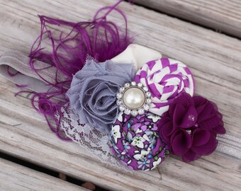 Fall Headband in plum and gray - Fabulous Photo Prop - Birthday - Baby Headband - Couture