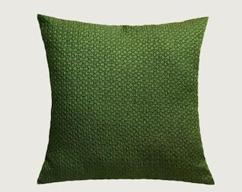 "Decorative Pillow case, Home Decor, Green color Textured fabric, Throw pillow case, fits 18"" x 18"" insert, Toss pillow case"