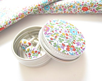 Liberty London Earrings or Cuff Links in matching tin. Katie and Millie meadow fabric in mix or blue 15mm fabric buttons. Mother's Day Gift