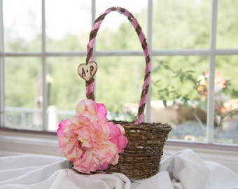 Pink Peonies Rustic Flower Girl Basket over 10 different flowers and 35 ribbon to select from