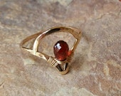 Valentines day gift Delicate Mozambique Garnet Ring in 14K Gold Fill /// Art Deco Series