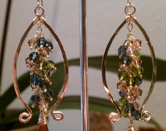 Lyre, Lyre Earrings 14K gold Fill and Swarovski Crystal Unique Earrings Fall Color Scheme. Made to order