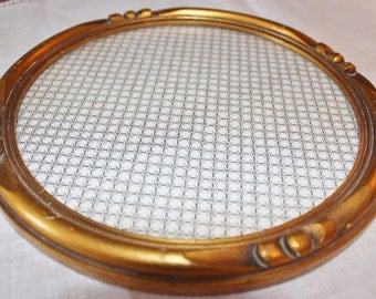 Small Round Wood Vanity Tray Gold