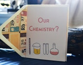 Our Chemistry Single Blank Cream Card with Periodic Table Lined Envelope - Love - New Relationship - Friendship - Nerds - Science