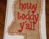University of Mississippi Ole Miss Go Rebels Hotty Toddy Y'all monogrammed kitchen towel/dish cloth-tailgating-shower-blue and red-go rebels