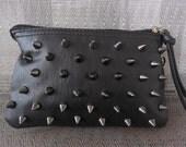 Hellraiser Spiked black leather clutch wallet purse