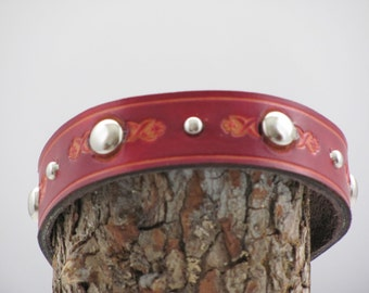 Red leather choker necklace. decorative pet choker. studded pet choker, tooled studded choker