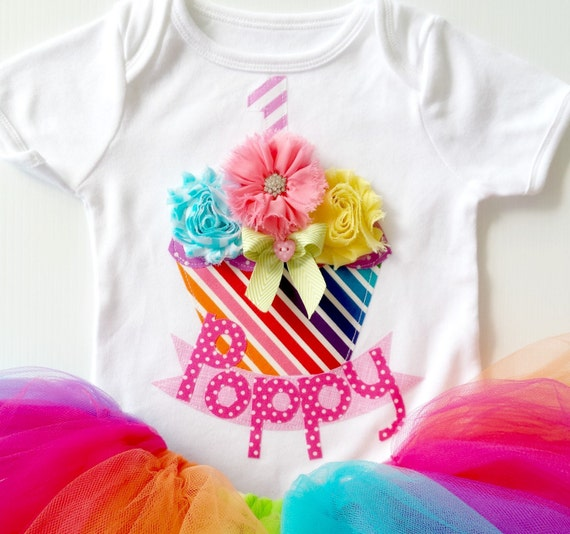 Rainbow Theme Girls First Birthday Bodysuit By LilBirdieShop