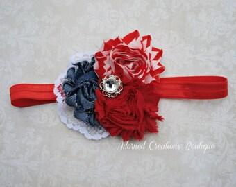 Red, White and Blue Baby headband, Christmas, 4th of July Infant headband, toddler headband, baby girl, Newborn Headband