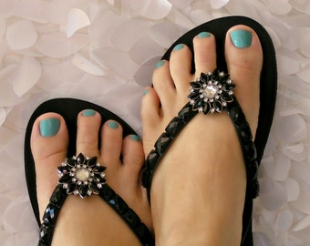 Black Rhinestone Flower Flip Flop Clips, Removable Flexible Versatile Shoe Clips, Sandals, Scarves, Boots, Hair, Pendant, gift under 20