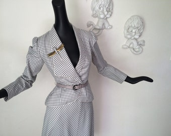 Vintage Rockabilly Suit Pin Up Bombshell Two Piece Dress Jacket Skirt Gray Gingham Plaid by Morton Myles New York 80s does 40s Size Small