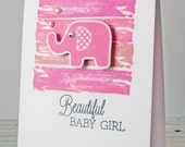 Beautiful Baby Girl Elephant Card - Pink