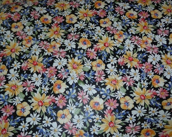 """Leather 8""""x10"""" Black Flower Garden multicolored Floral pattern NOW ON COWHIDE 2.5-3 oz / 1-1.2 mm PeggySueAlso™ E2176-01A"""