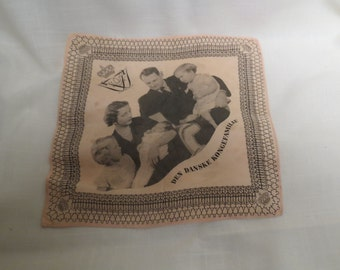 Sale Vintage Silk Handkerchief Danish Royal Family Souvenir Pink Hankie Hanky Den Danske Kongefamilie