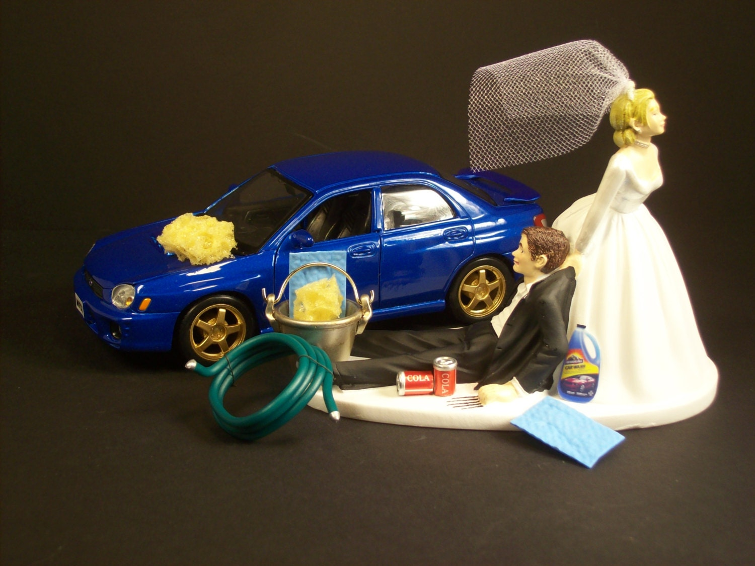 AUTO CAR Wash 2006 Subaru Impreza STI Wrx Blue Bride and Groom