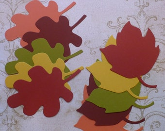 10 Sizzix Leaf / Leaves Die Cut Shape / pieces in Spiced Market colors Cardstock Wedding Wish Tree Tags Labels