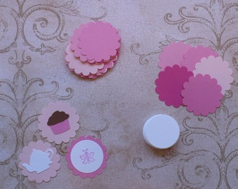 Assorted Pink Colors 24 Small Scallop Circle Punchies with 24 plain white centers for Cupcake Toppers / Picks DIY Party Bag Tags etc.