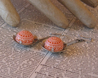 Handmade White Metal and Vintage Coral and White Cabochon Dangle Earrings