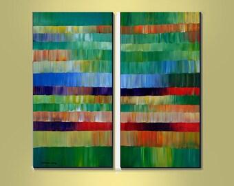Original Painting Modern Abstract Extra Large 2 Canvas 48x48 Wall Art  By Thomas John