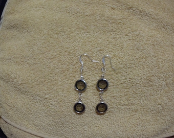 Brown Disk Dangle Earrings