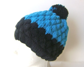 Knit Beanie for Women in Black and Turquoise, Thick Winter Pom Pom Hat