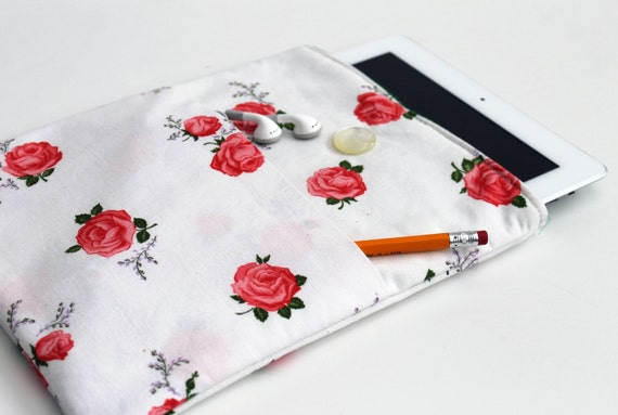 Vintage Rosesl Upcycled iPad Case